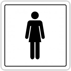 Toaleta damska 100x100mm pictogram naklejka