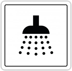 Prysznic 100x100mm pictogram naklejka